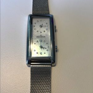 Skagen Duel Face Watch Silver Band & Safety Clasp